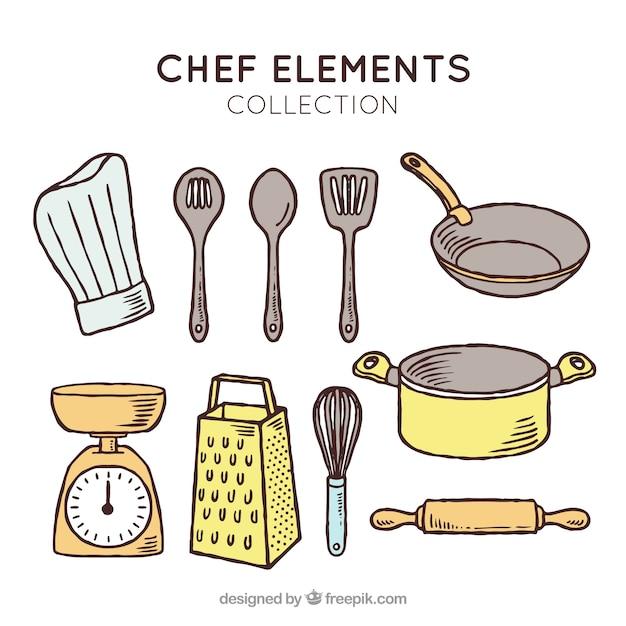 Sombrero de chef y otros artículos de cocinero vector gratuito