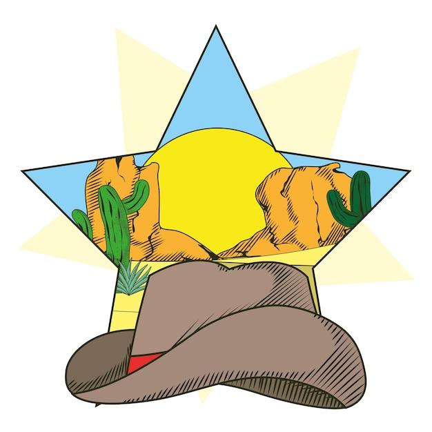 Sombrero de vaquero en el marco de la estrella   Descargar Vectores ...