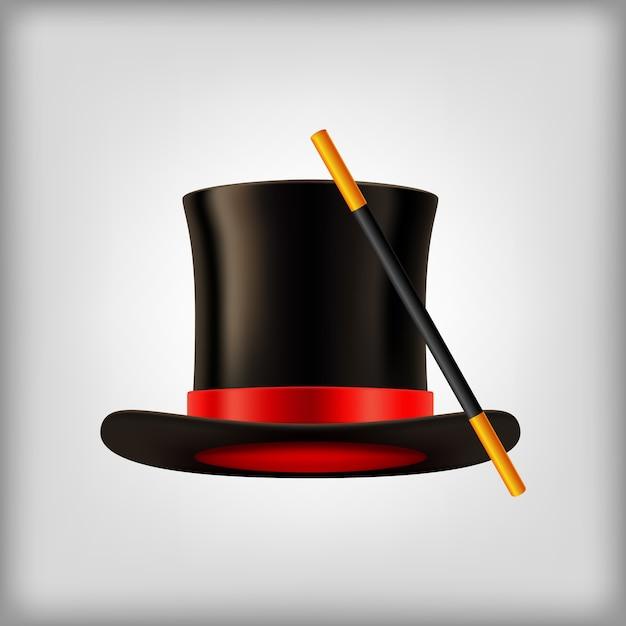 5cecf4ba2c6 Sombrero mágico vector realista con ilustración varita mágica ...