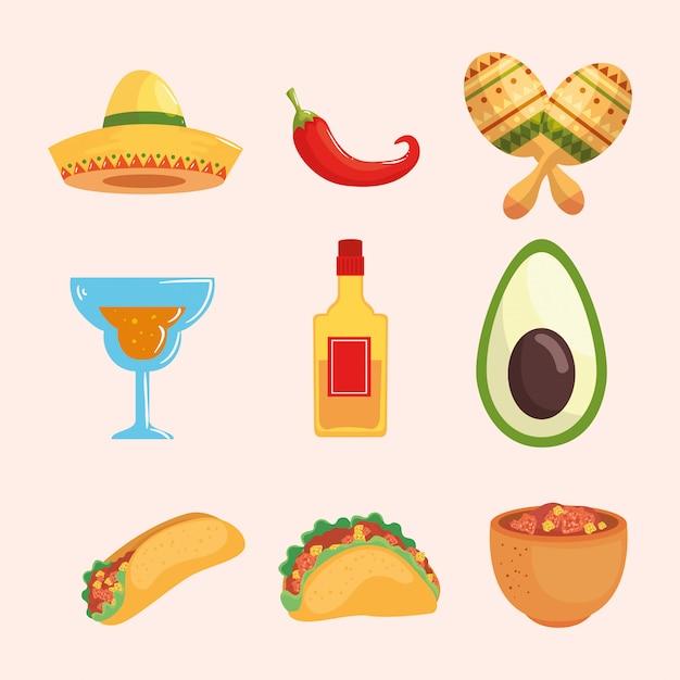 Sombrero mexicano chiles maracas cóctel tequila botella aguacate burrito taco y tazón Vector Premium