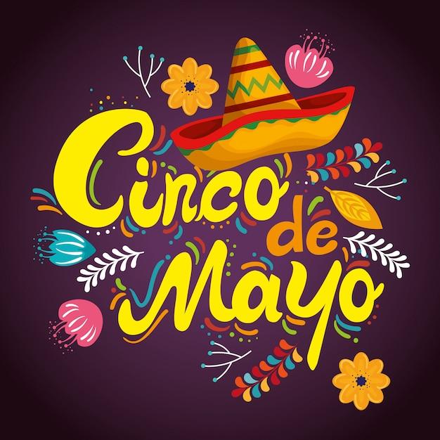 Sombrero mexicano con flores para la celebración del evento. vector gratuito