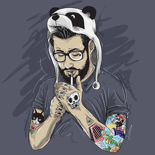 Sombrero de panda ahumado barbudo tatuado caballero Vector Premium