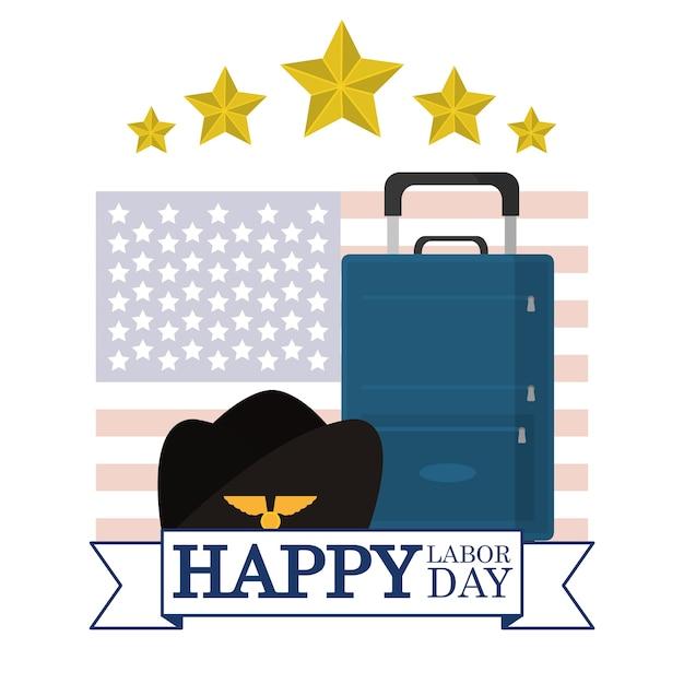 Sombrero piloto y equipaje sobre banderas de ee. uu. | Descargar ...