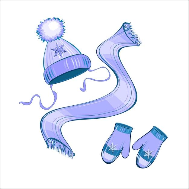 Sombrero de punto bufanda mitones | Descargar Vectores Premium