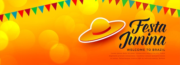 Sombrero tradicional diseño de fiesta junina banner vector gratuito