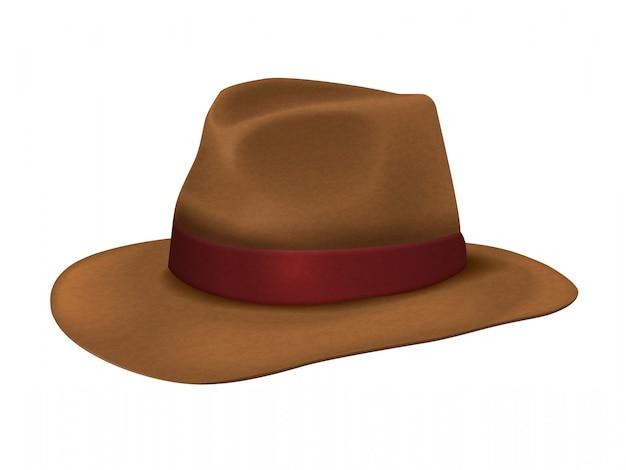 Sombrero de vaquero marrón realista Vector Premium