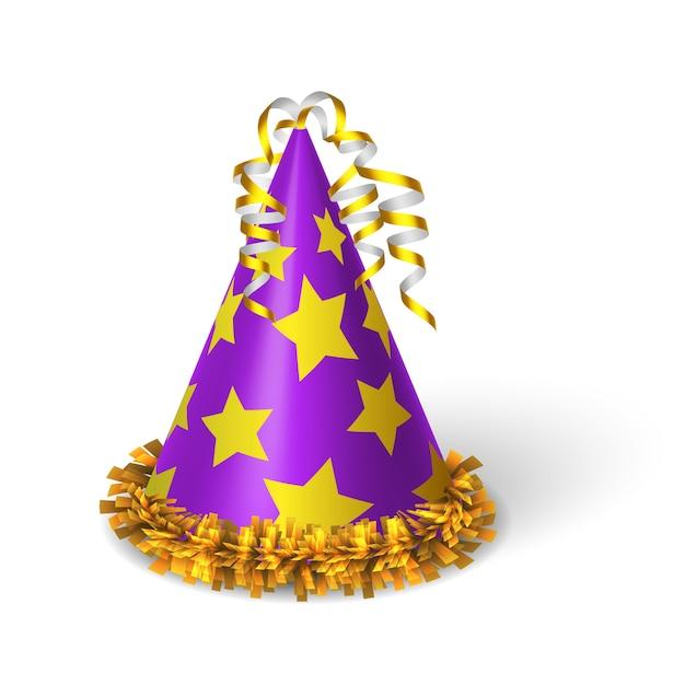Sombrero violeta de cumpleaños con estrellas amarillas. vector gratuito