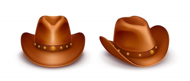 Sombreros de vaquero de cuero marrón vector realista vector gratuito