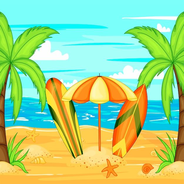 Sombrilla en la playa por el agua. Vector Premium