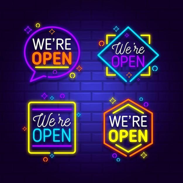 Somos una colección abierta de letreros de neón vector gratuito