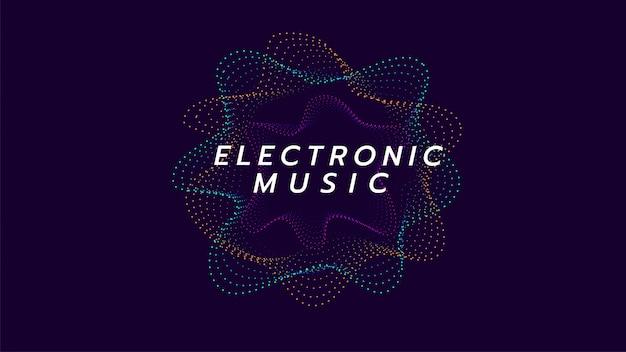 Sonido circular de la onda de la música electrónica. ilustración sobre línea digital Vector Premium