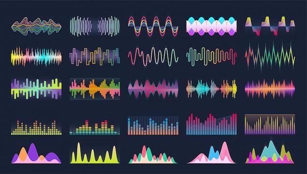 Sonido de onda conjunto de dibujos animados icono. Vector Premium