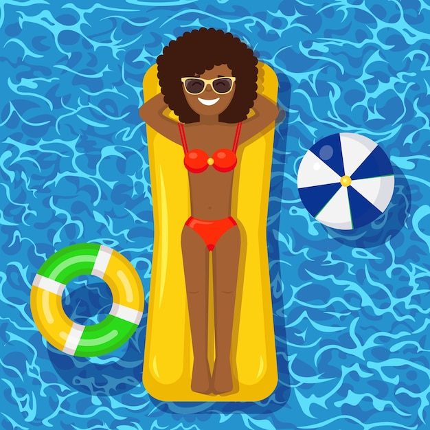 Sonrisa chica nada, bronceado en colchón de aire en la piscina. mujer flotando sobre un juguete en el fondo del agua. círculo inactivo. vacaciones de verano, vacaciones, tiempo de viaje. ilustración Vector Premium