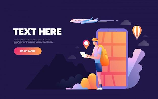 Sonrisa joven hombre feliz turista utilizando el sistema de navegación móvil en su teléfono inteligente, ilustración aislada, concepto de viaje creativo, Vector Premium