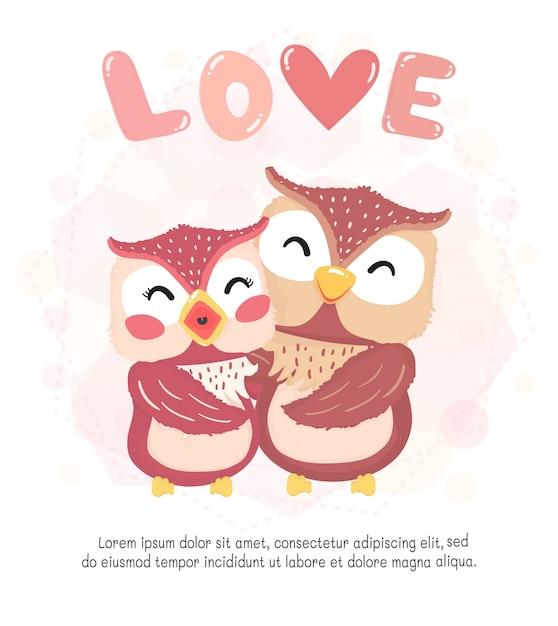 Sonrisa plana linda pareja feliz otoño búho, abrazo con palabra de amor, tarjeta de san valentín, idea de personaje animal lindo para niños y niños imprimibles y camiseta, tarjeta de felicitación, arte de pared de guardería, postal Vector Premium