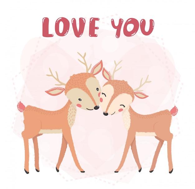 Sonrisa de renos de pareja linda plana, beso con palabra de amor, tarjeta de san valentín, idea de personaje animal lindo para camiseta y material imprimible de niño y niño, tarjeta de felicitación, arte de pared de guardería, postal Vector Premium