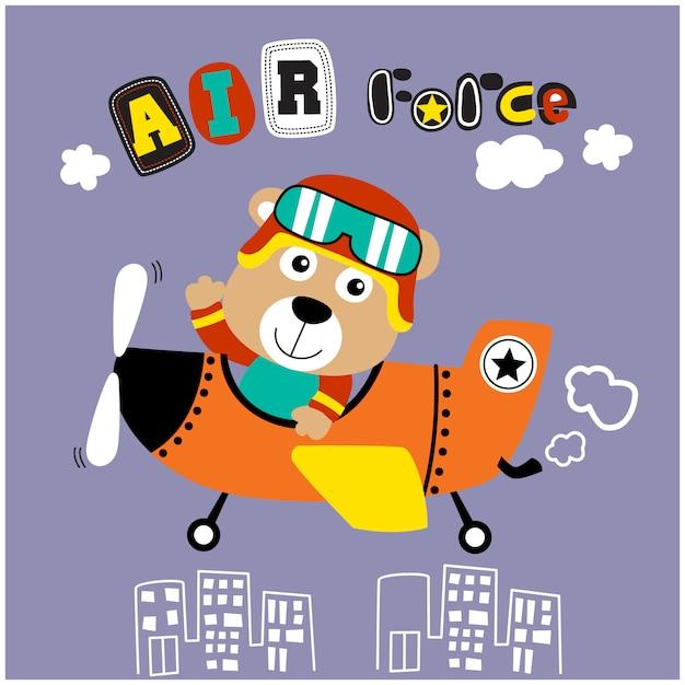 Soportar el pequeño piloto de dibujos animados de animales graciosos, ilustración vectorial Vector Premium