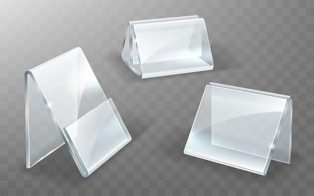 Soporte de acrílico, soporte de exhibición de vidrio o plástico vector gratuito