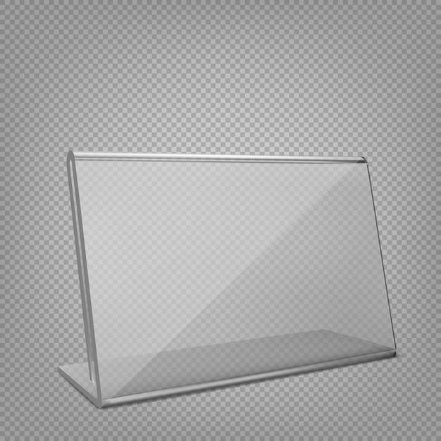 Soporte de exhibición o carpa de mesa acrílica. aislado sobre fondo transparente. Vector Premium