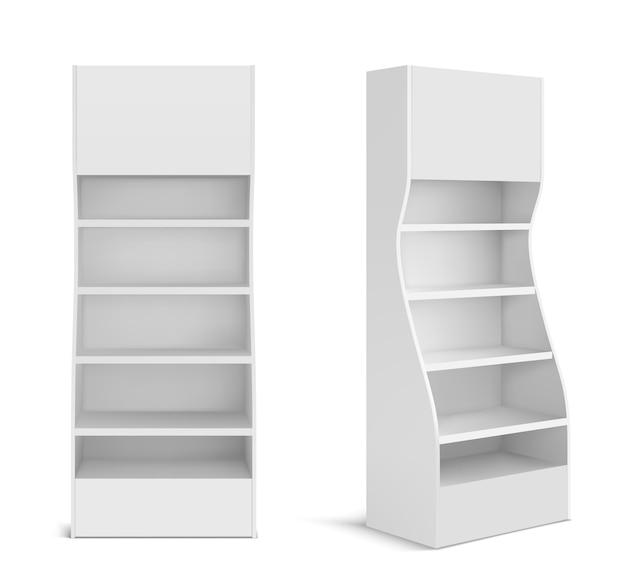 Soporte de exhibición de punto de venta blanco para productos en supermercado, tienda y tienda. vector 3d realista de estante de promoción en blanco con estantes vacíos, escaparate minorista aislado vector gratuito
