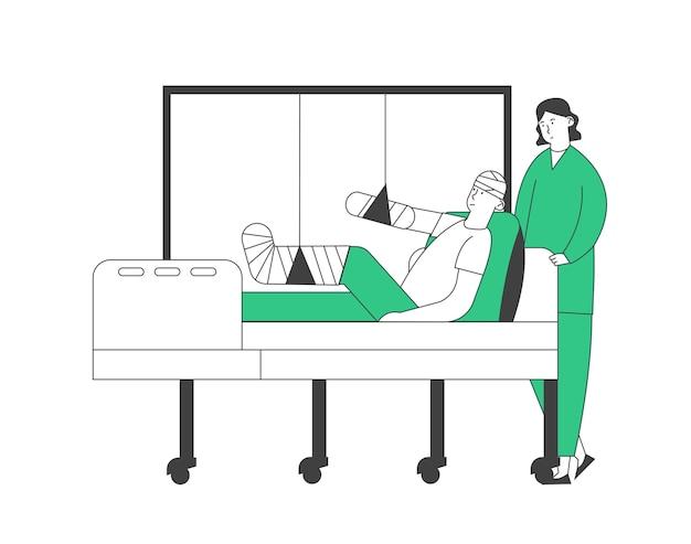 Soporte médico o enfermera en la cámara con el paciente acostado en la cama con la cabeza limitada, el brazo y la pierna rotos, el desvío médico del personal en el departamento de traumatología del hospital. Vector Premium