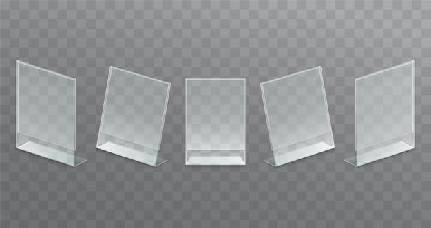 Soporte publicitario transparente de sobremesa de plástico, soporte de papel. Vector Premium