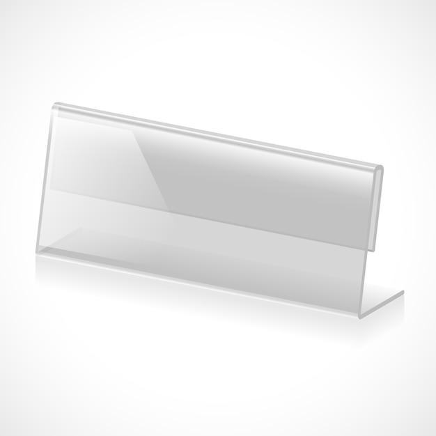 Soporte transparente tridimensional para nombre, título o rango. ilustración vectorial vector gratuito