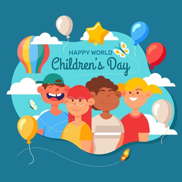 Sorteo del día mundial del niño Vector Premium