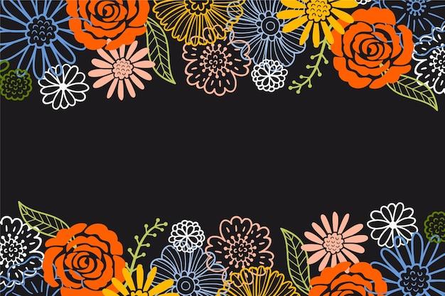 Sorteo de flores sobre fondo de pizarra vector gratuito