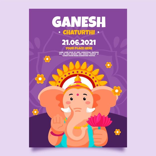 Sorteo de plantilla de póster de ganesh chaturthi vector gratuito