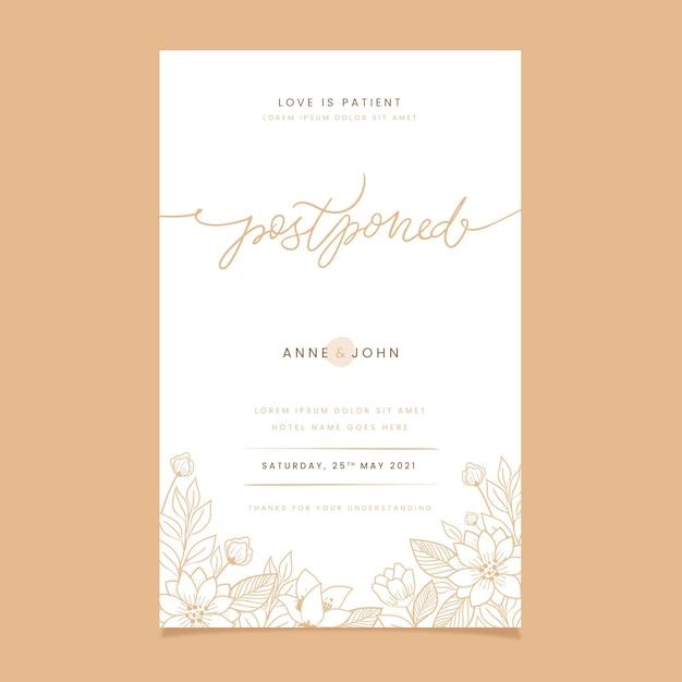 Sorteo de tarjetas de boda pospuestas Vector Premium