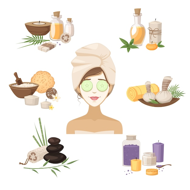 Spa elementos de belleza con mascarillas de mujer aceites y cremas aislados ilustración vectorial vector gratuito