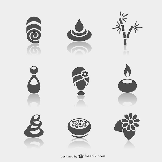 Spa iconos minimalistas vector gratuito