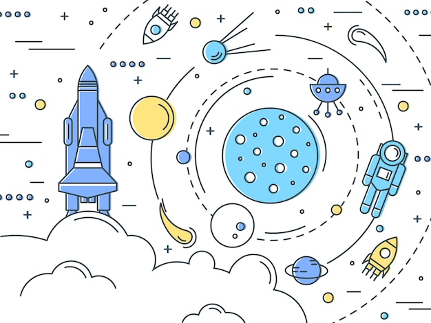 Space line art design vector gratuito
