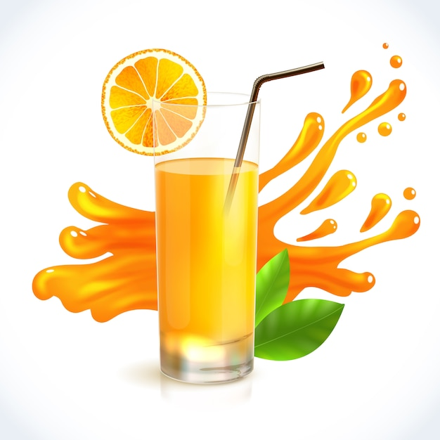 Splash de jugo de naranja vector gratuito