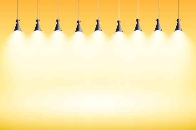 Spot luces de fondo amarillo studio vector gratuito