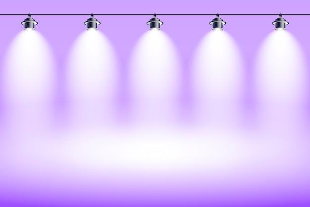 Spot luces de fondo estudio violeta vector gratuito