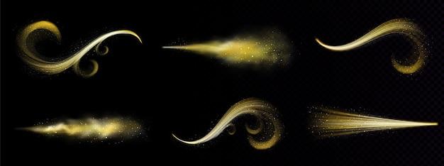 Spray mágico dorado, polvo de brillo de hadas con rastro de partículas doradas vector gratuito