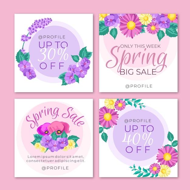 Spring sale instagram post collection vector gratuito