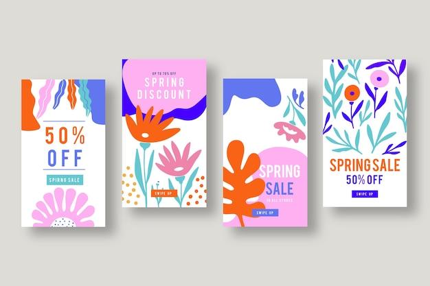 Spring sale instagram story collection vector gratuito