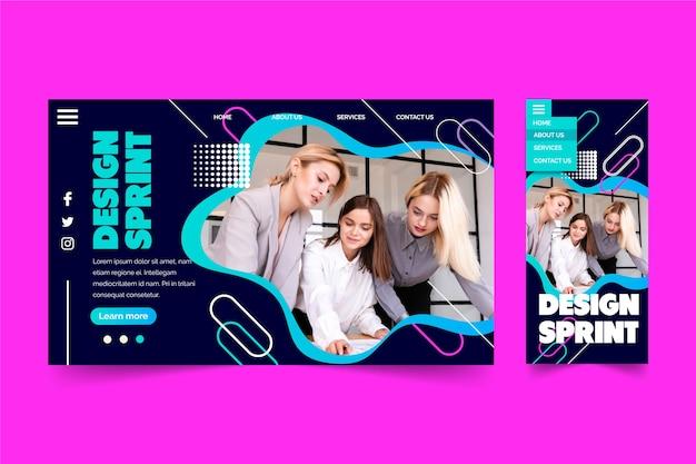 Sprint de diseño con página de inicio de grupo de personas vector gratuito