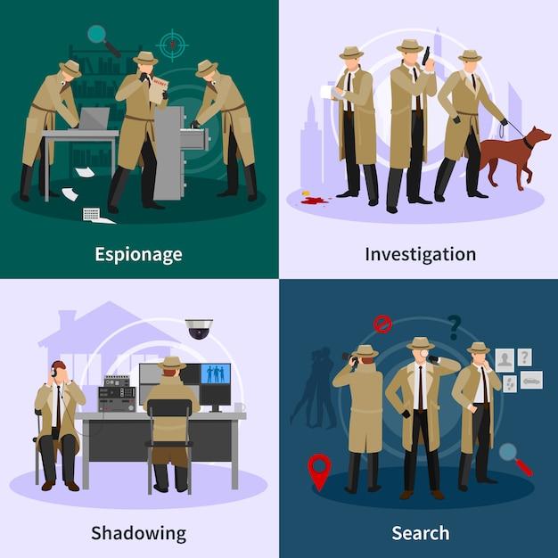 Spy flat concept vector gratuito