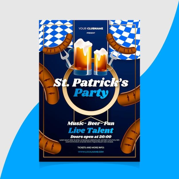 St realista diseño del cartel de patrick vector gratuito