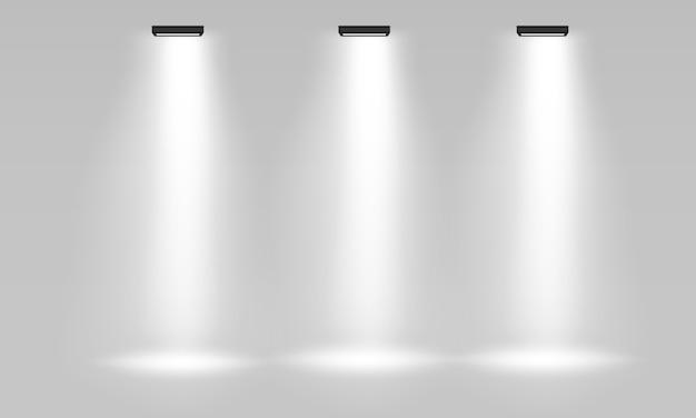 Stand De Exposición Interior Vacío Blanco Para Presentación Con Foco En El Fondo Gris Blanco Vacío Promocional Stand De Exposición 3d Escenario Podio Para Presentaciones Vector Premium