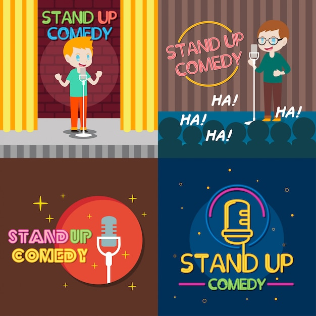 Stand up comedy illustration Vector Premium