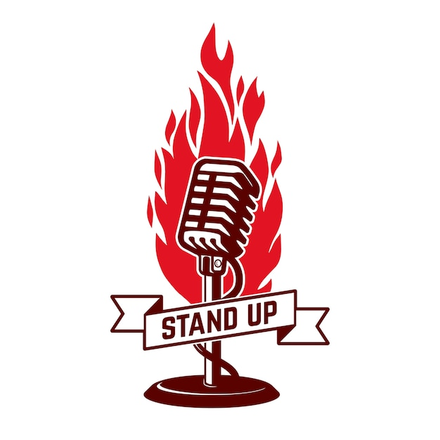 Stand up show emblema plantilla. . . Vector Premium