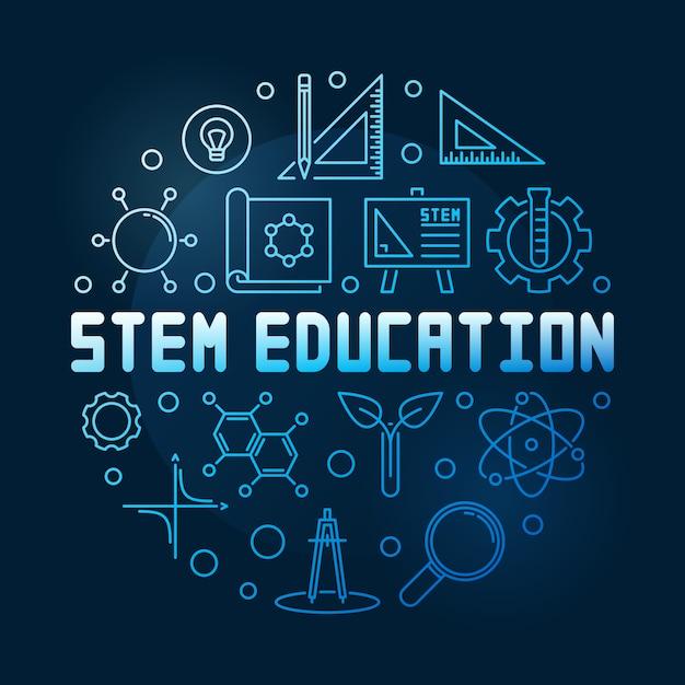 Stem education azul lineal redondo | Vector Premium