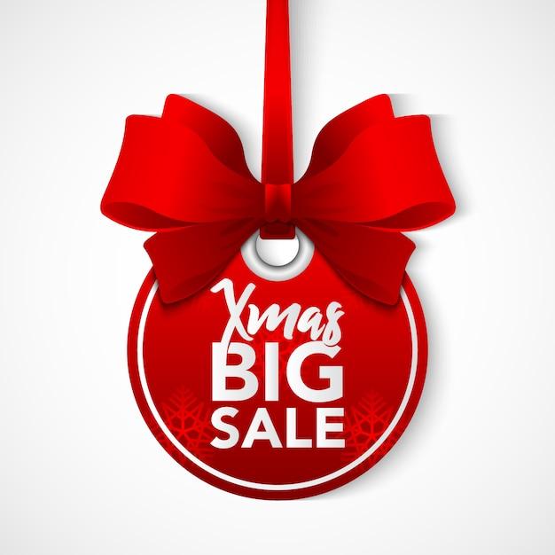 Stock venta de bolas de navidad con cinta roja. Vector Premium
