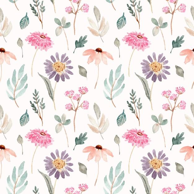Suave rosa púrpura floral acuarela de patrones sin fisuras Vector Premium