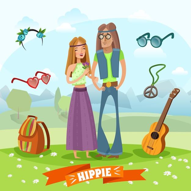 Subcultura composición hippie vector gratuito